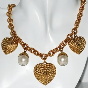 Yves Francie Necklace 22kt Gold Plated Pearls NWT